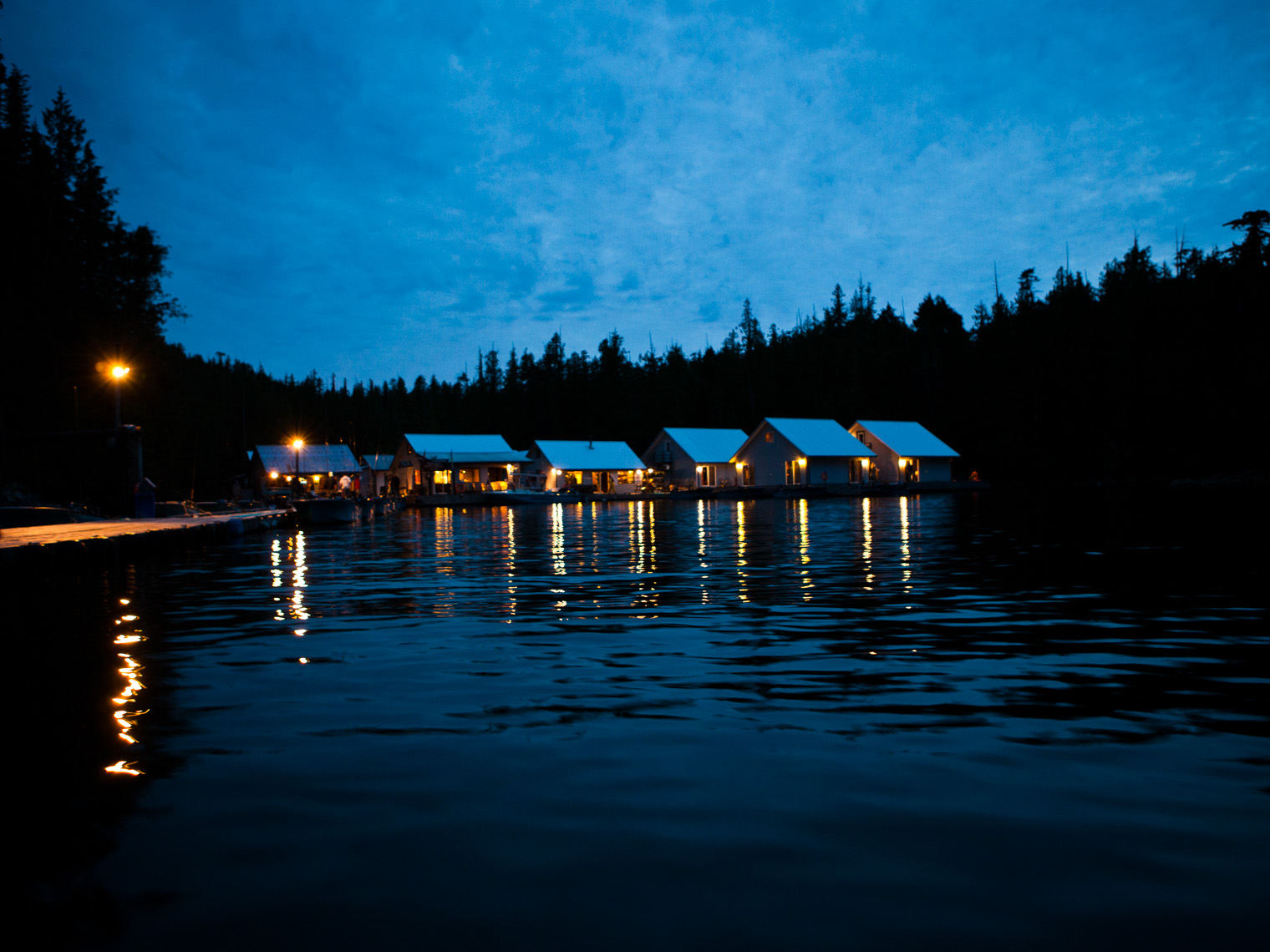 Floating fishing lodge in British Columbia
