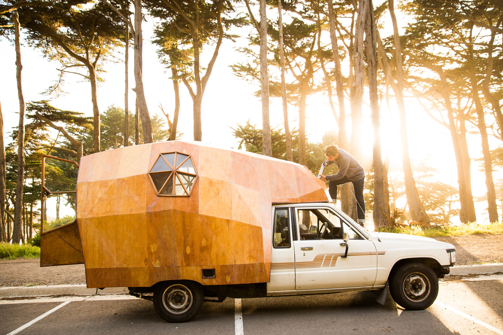 Artist Jay Nelson and his camper  in San Francisco, CA.