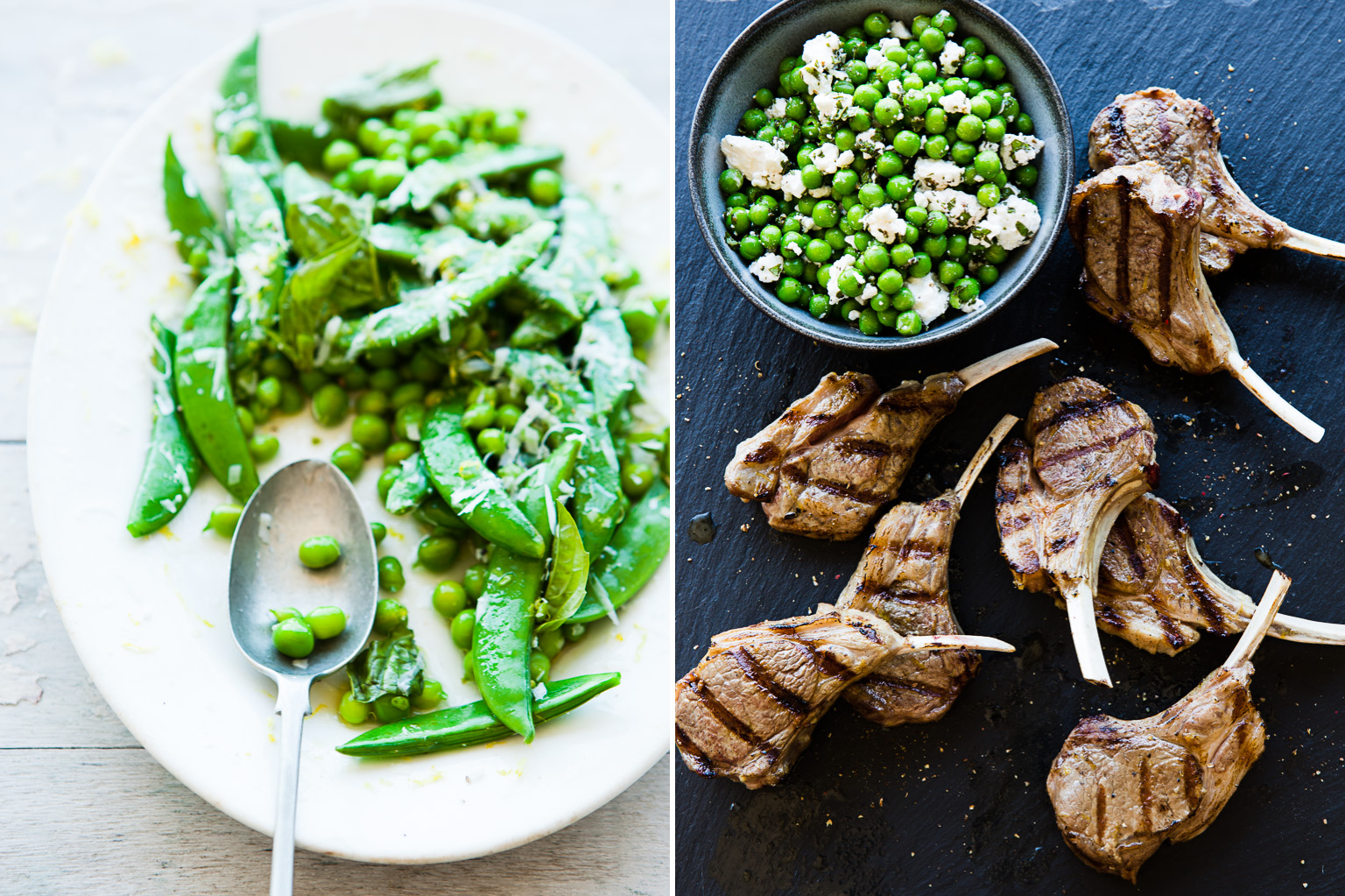 Spring peas and Lamb chops.