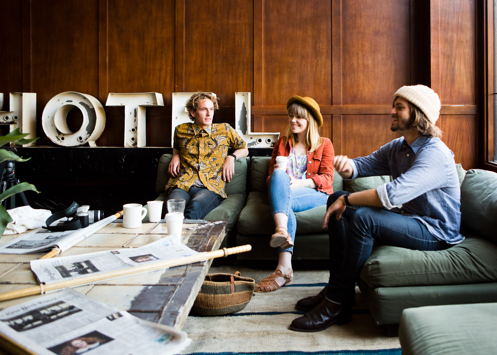 Young travelers at the Ace Hotel in Portland, Oregon