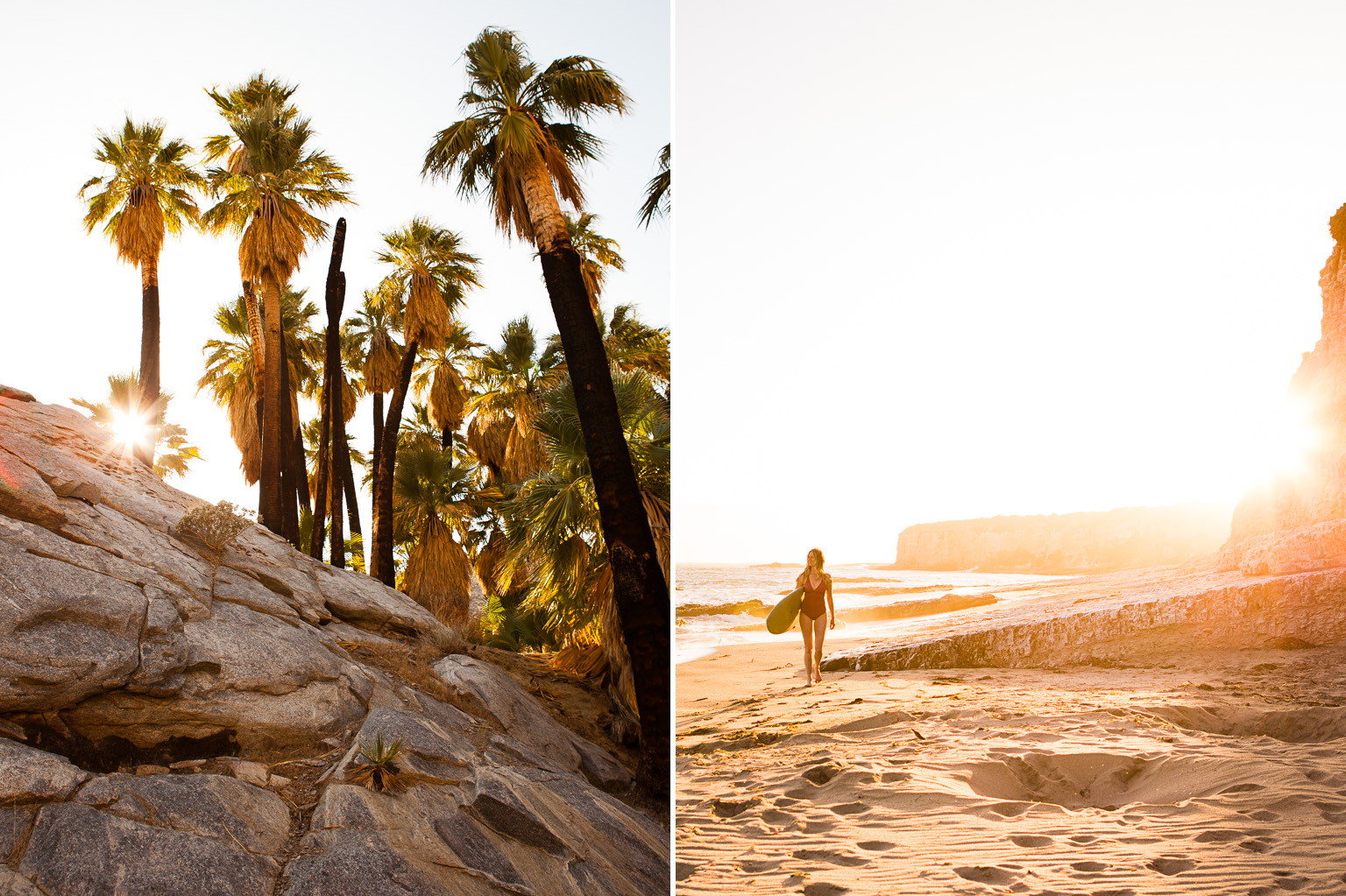 Surfer and landscape in California