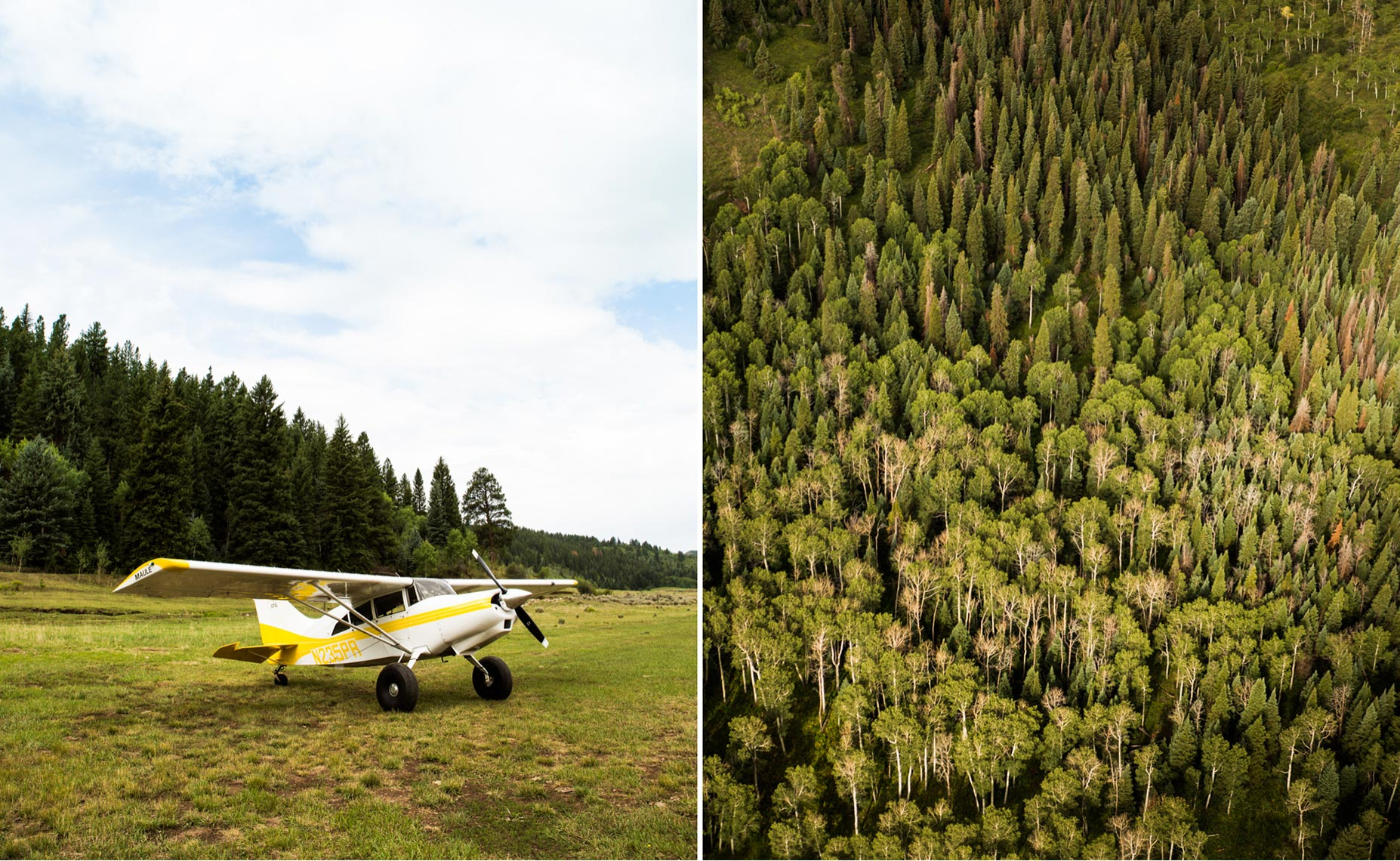 Plane and aerial shot in Colorado.