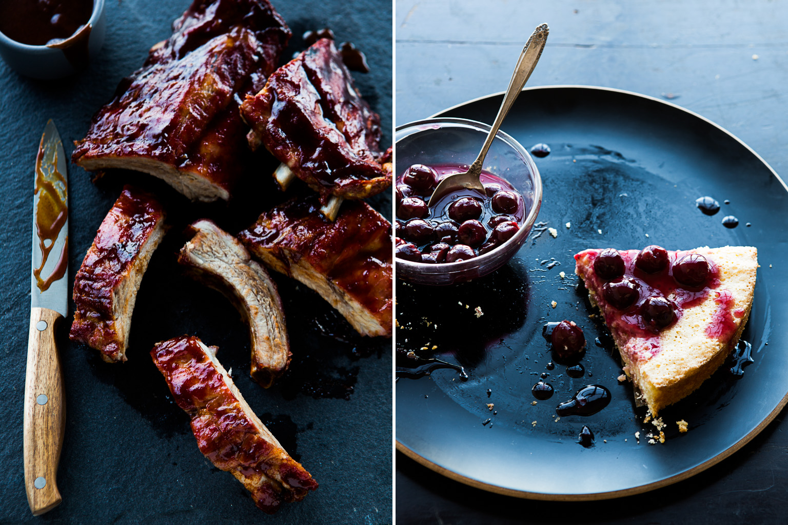 Ribs and cherry tart.