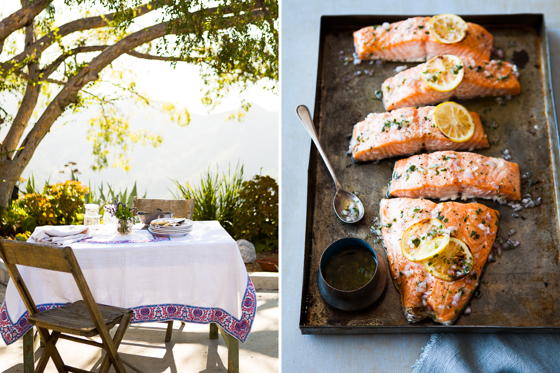Salmon, outdoor dining.