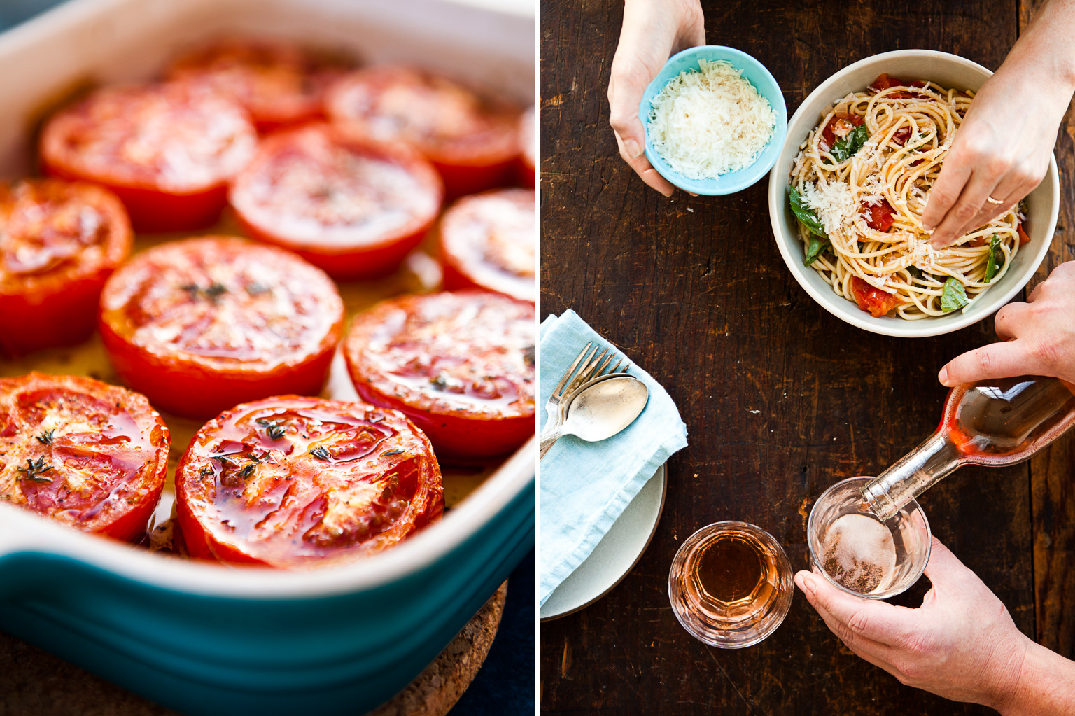 Roasted tomatos and pasta